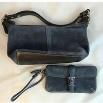 Vintage Coach Blue Suede & Leather Handbag With Matching Wristlet- Nwot Photo