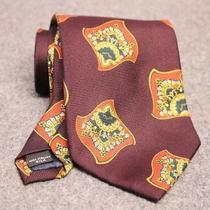 Vintage Coach Brand Silk Large Scarf Tie Burgundy Green Gold Made Usa Photo