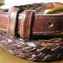 Vintage Coach British Tan Braided Woven Leather Brown Belt 40