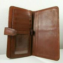 Vintage Coach Brown Leather Bifold Clutch Kiss Lock Wallet Photo