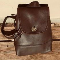 Vintage Coach Brown Leather - Drawstring Turnlock Backpack J0p-9960  Cloth Bag Photo