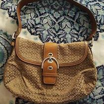 Vintage Coach Brown Leather Mini Signature Soho Flap Buckle Purse Hobo Bag Nice Photo