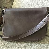 Vintage Coach Brown Smooth Leather Flap Cross Body Shoulder Handbag Purse 9951 Photo