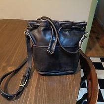 Vintage Coach Bucket Drawstring Black Leather Bag- 70's  Crossbody Photo