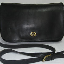 Vintage Coach City Flap Black Lthr Convertible Crossbody Handbag Bag Usa Nyc C3  Photo