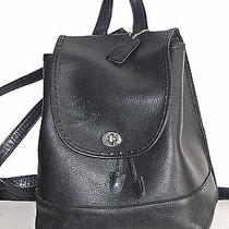 Vintage Coach Classic Backpackbook Bag-Made in Usa Black Leather 11.5