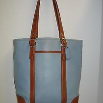 Vintage Coach Hampton Bucket Shoulder Bag Blue W/tan Leather 4462 Tote Photo