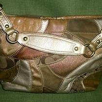 Vintage Coach Handbag Medalic Gold & Silver Lots of Brass Pre-Owned Photo