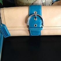 Vintage Coach Large Tan Leather W/teal Accent Buckle Clutch Purse W/strap Photo