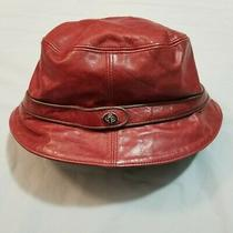 Vintage Coach Leather Bucket Hat Red Burgundy Silver Clasp Medium Large  Photo
