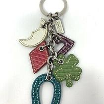 Vintage Coach Leather Lucky Charm Mix Keychain Key Ring Charm Fob  Rare Photo