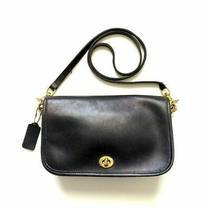 Vintage Coach Legacy Leather Black Saddle Crossbody Shoulder Purse Hand Bag Photo