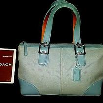 Vintage Coach Mint Shoulder Bag Blue  12 Years Old With Original Pamphlet 2004  Photo
