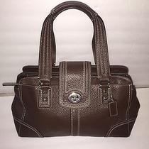 Vintage Coach Pebble Leather Brown Satchel Photo