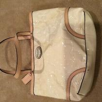 Vintage Coach Peyton Patent Leather Embossed Logo Cream Tote Purse Bag F48166 Sm Photo