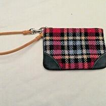 Vintage Coach Plaid Wool Clutch With Wrist Strap Red Blue & Tan Photo