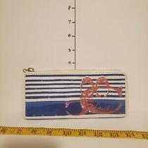 Vintage Coach Poppy Nautical Striped With Sequins Slim Long Zip Wallet Photo