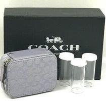Vintage Coach Purple Signature Canvas Patent Leather Triple Pill Case Travel Box Photo