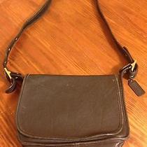 Vintage Coach Purse Black Shoulder Bag Messenger Genuine Cowhide Leather Photo