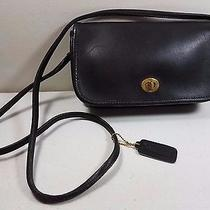 Vintage Coach Purse Small Black Leather Cross Body Messenger Bag Turnkey 9 Inch Photo
