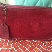 Vintage Coach Red Chunky Case Makeup Bag Pouch Berkeley Suede Leather Photo