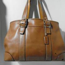 Vintage Coach Satchel W/exp Sides 7582 Luggage Tan Leather Photo