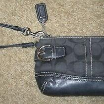 Vintage Coach Signature Canvas Black Wristlet Bag Pouchette Photo