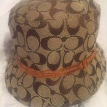 Vintage Coach Signature Logo C Beige Bucket Hat - Size Small/petite Photo