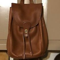 Vintage Coach Tan/brown Leather Backpack Photo