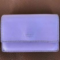 Vintage Coach Wallet Purple Leather & Lilac Metallic Accordion Card Case Photo