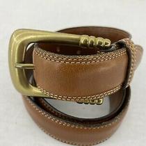 Vintage Coach Womens Tan Brown Leather Belt W/gold Buckle Size Medium Euc Photo