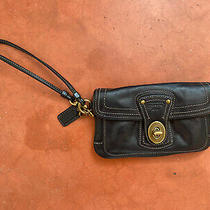 Vintage Coach Wristlet Black 6.5x4 With Gold Hardware and Striped Lining Photo