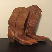 Vintage Cognac Frye Cowboy Boots Size 8 Photo
