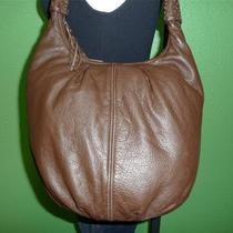 Vintage Coldwater Creek Brown Leather Hobo Boho Bucket Shoulder Bag Tote Purse Photo