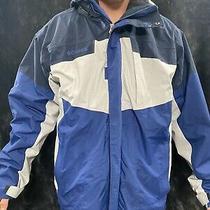 Vintage Columbia Bugaboo Mens Xl Blue Black & White Ski Full-Zip Jacket Photo