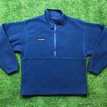 Vintage Columbia Fleece Jacket Men's Size Medium Blue Half Zip Pullover Usa Photo