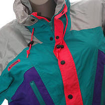 Vintage Columbia Jacket Neon Metalic Ski Snowboard Pull Over Coat Radial Slv M-L Photo