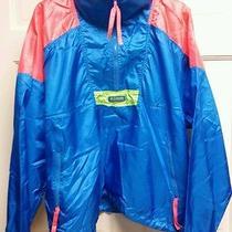 Vintage Columbia Jacket Xl Windbreaker Pull Over Neon  Half Zip Radial Sleeve Photo