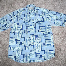 Vintage Columbia Sportswear Short Sleeve Blue Hawaiian Fishing Design Shirt Sz L Photo