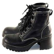 Vintage Combat Boots Chunky Lug Sole  Grunge Goth Military Ankle Boots 10m Photo