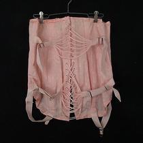 Vintage Comfort Mode Belt Fan Lace Up Blush Damask Corset Size 36  Photo