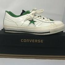 Vintage Converse One Star Ox Leather White Green Lo Sneaker Retro Sz 8.5 Photo
