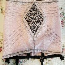 Vintage Corset Girdle With Garters Blush Pink and Black Size Xl-32 Open Bottom Photo