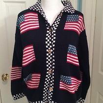 Vintage Cotton Salsa Large 100% Cotton Sweater Cardigan American Flag Photo