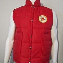 Vintage Courier Express Newspaper Service Award Patch Red Puffy Nylon Vest L Photo