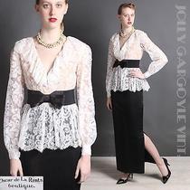 Vintage Couture 1970s Oscar De La Renta Boutique Black and White Lace Dress Md Photo