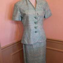 Vintage Couture Christian Dior 2 Piece Suit 100% Silk Teal Aqua Size 6 Euc Photo