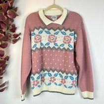 Vintage Cricket Lane Blush Pink Floral Collar Knit Granny Sweater Large Photo