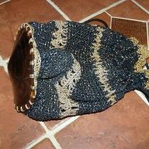 Vintage Crochet Handmade Drawstring Handbag Photo