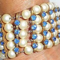 Vintage Cuff Bracelet Swarovski Pearls Blue Rhinestones Hapachico Haute Couture Photo